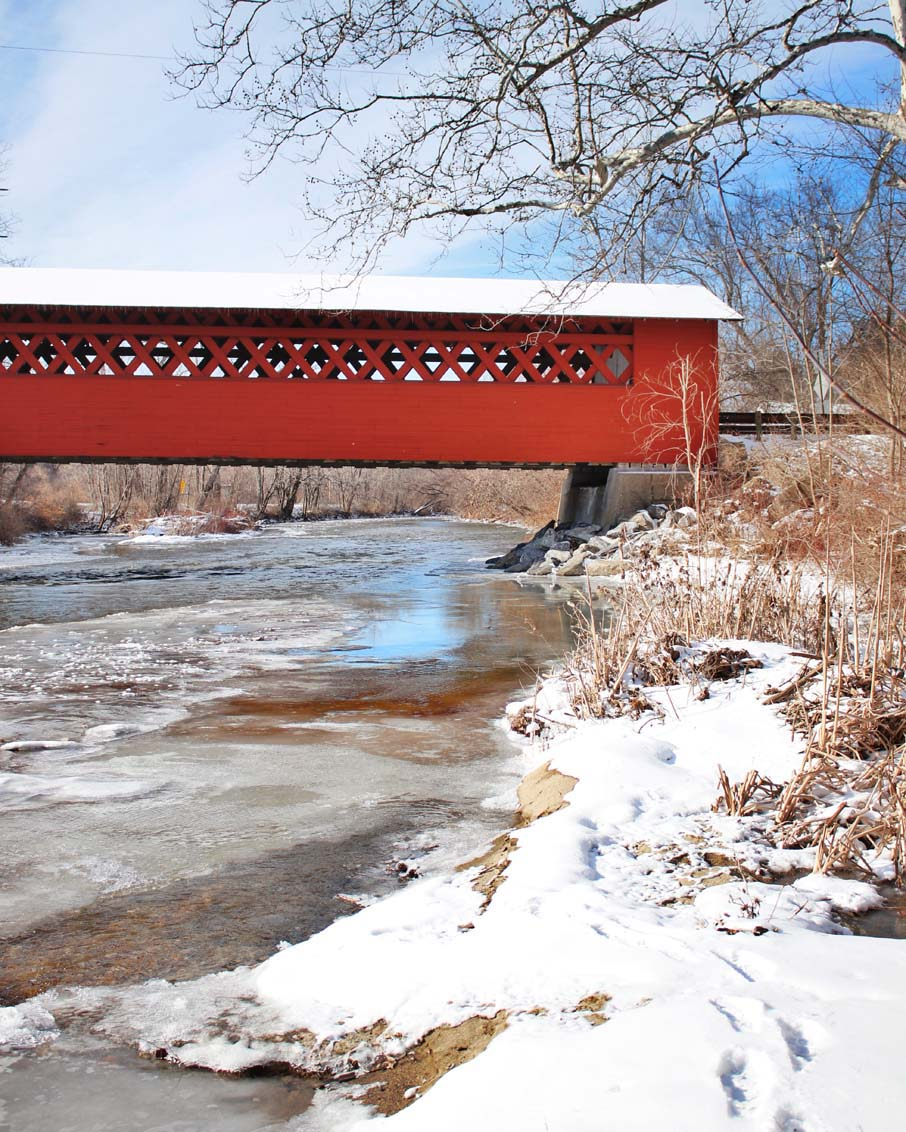 scenic drive things to do bennington red covered bridge winter