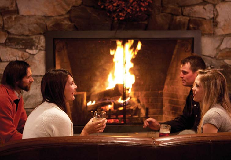couple fireplace bennington restaurant fireside
