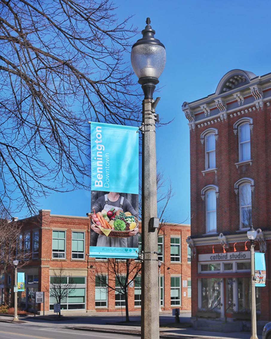 downtown bennington vermont streetscape pole banners