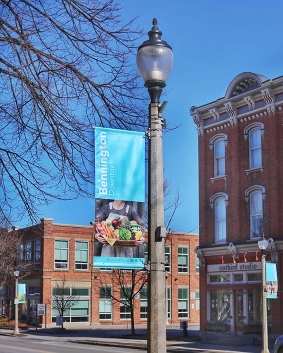 downtown bennington vermont streetscape pole banners