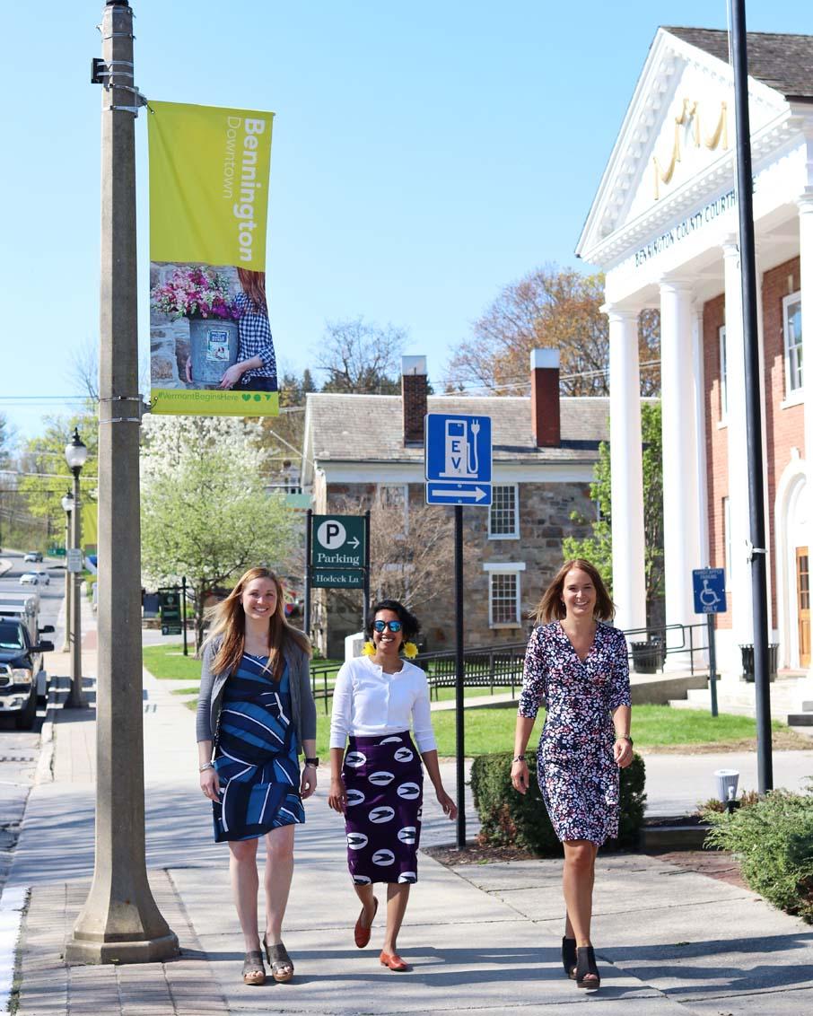 bennington town government business people walking