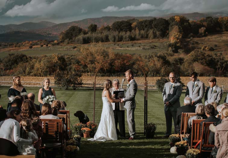 A wedding ceremony at the Hubble Homestead in Bennington, Vermont