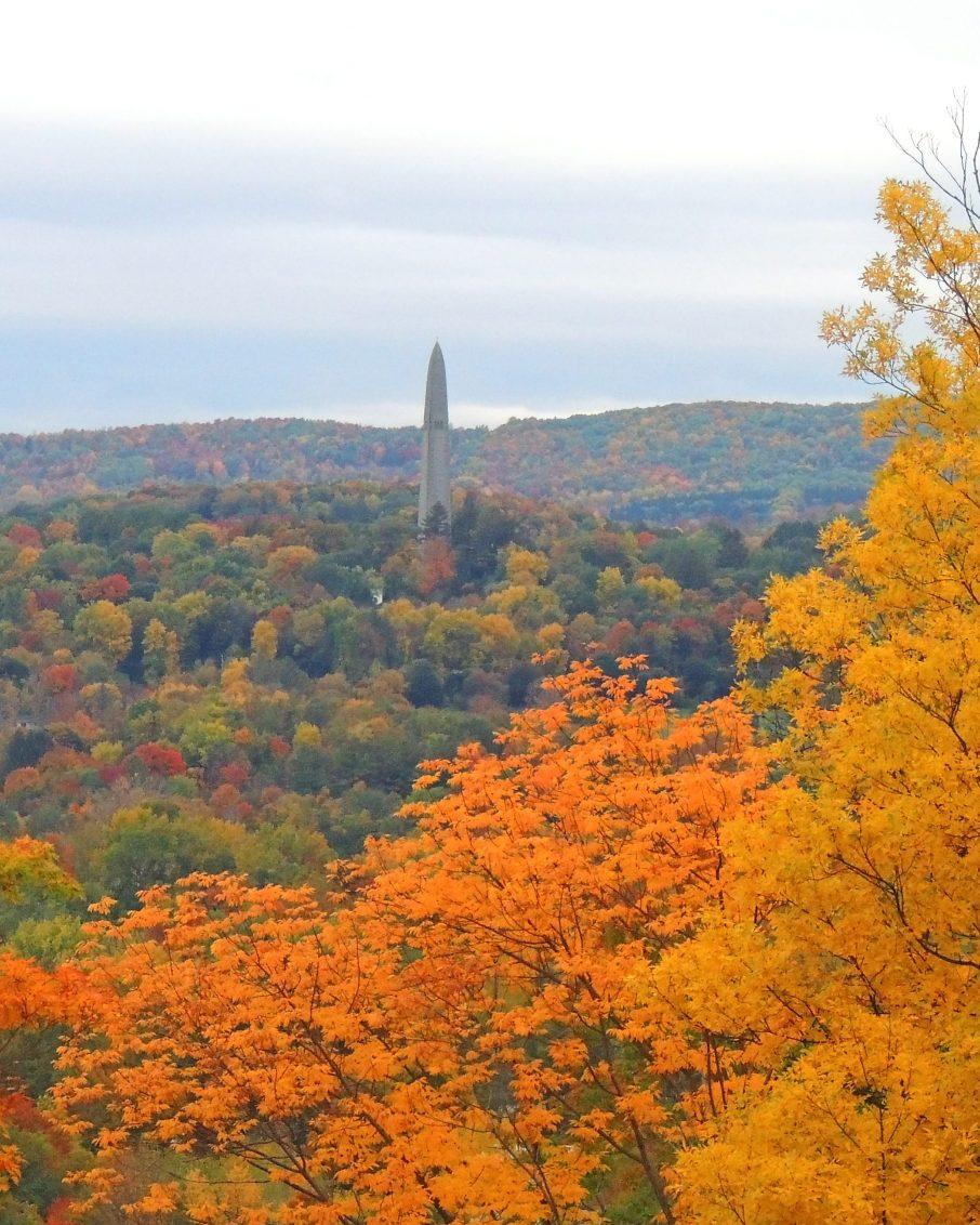 Fall foliage in Bennington, Vermont featuring the Bennington Battle Monument