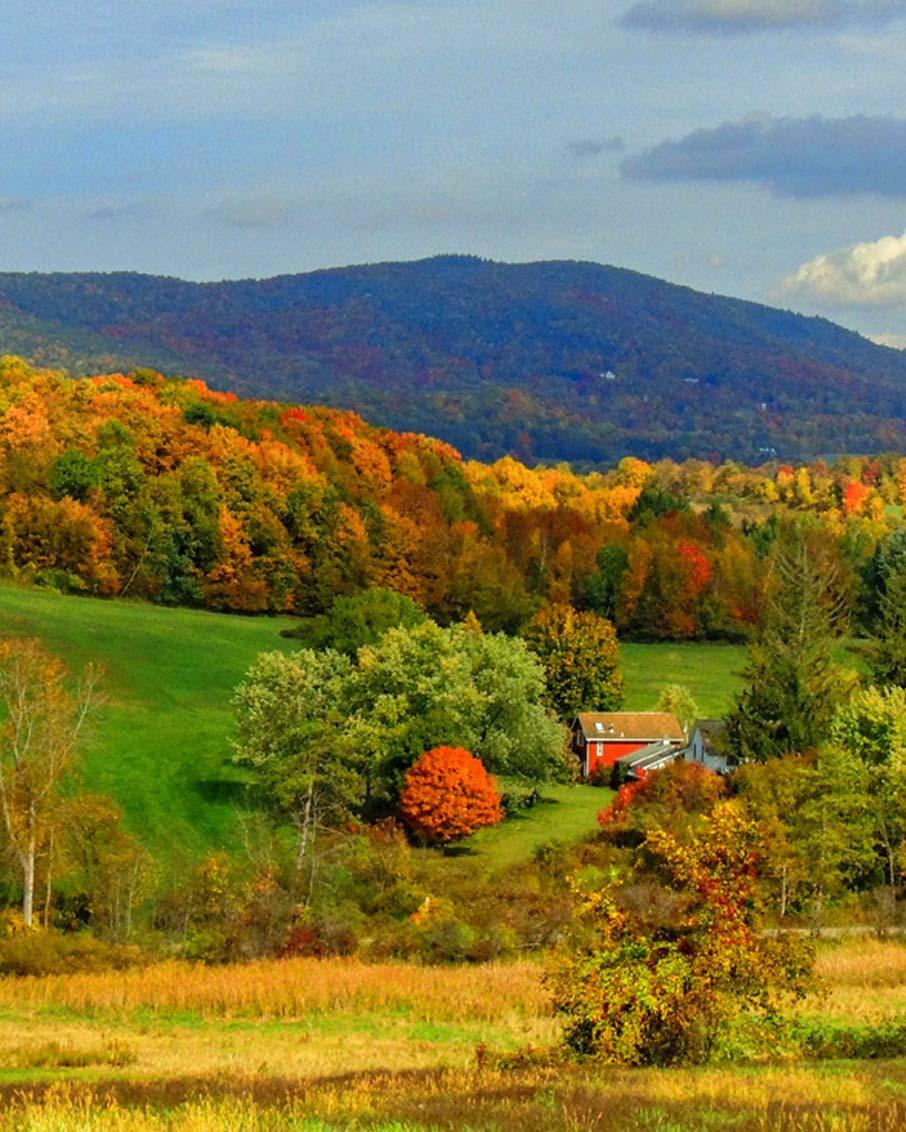 vermont fall foliage scenic drive landscape bennington farm