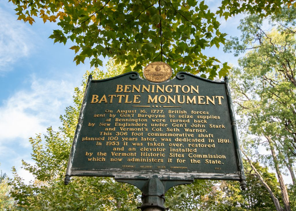 An informational sign for the Bennington Battle Monument in Bennington, Vermont.