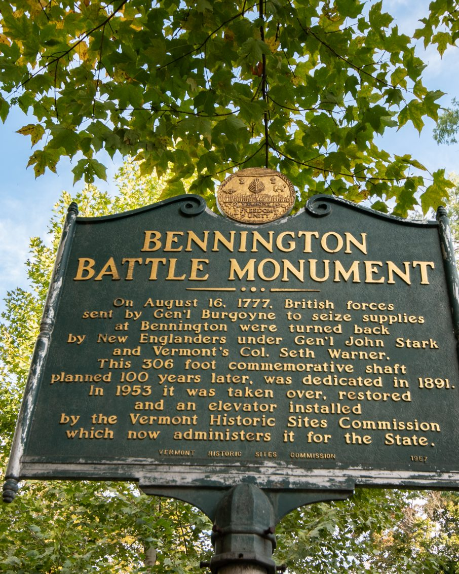 Bennington Battle Monument sign