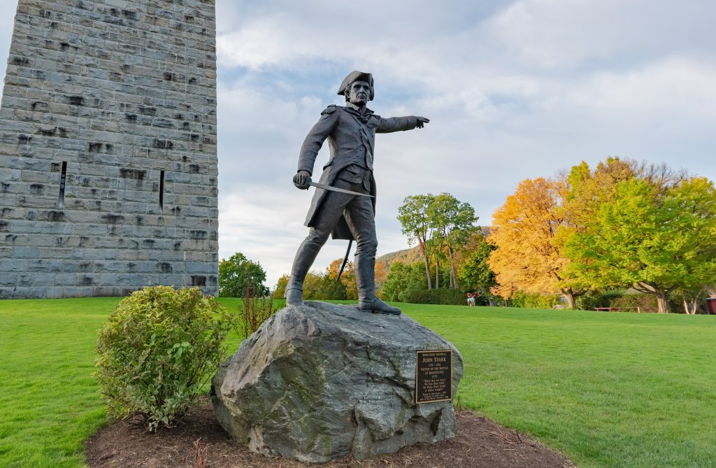 A statue of General John Stark at the Bennington Battle Monument.