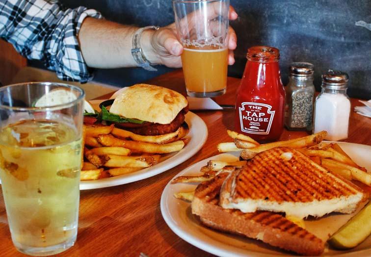 restaurant food, craft beer, burger, sandwich,