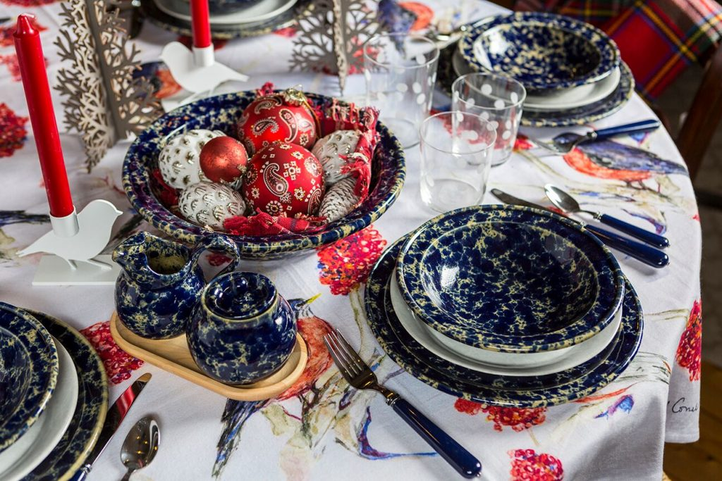 A festive holiday table setting at Bennington Potters in Bennington, Vermont.