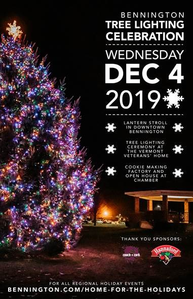 A poster featuring the Christmas tree lighting in Bennington, Vermont.
