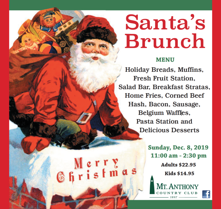 A flyer advertising brunch with Santa at Mt. Anthony Country Club in Bennington.