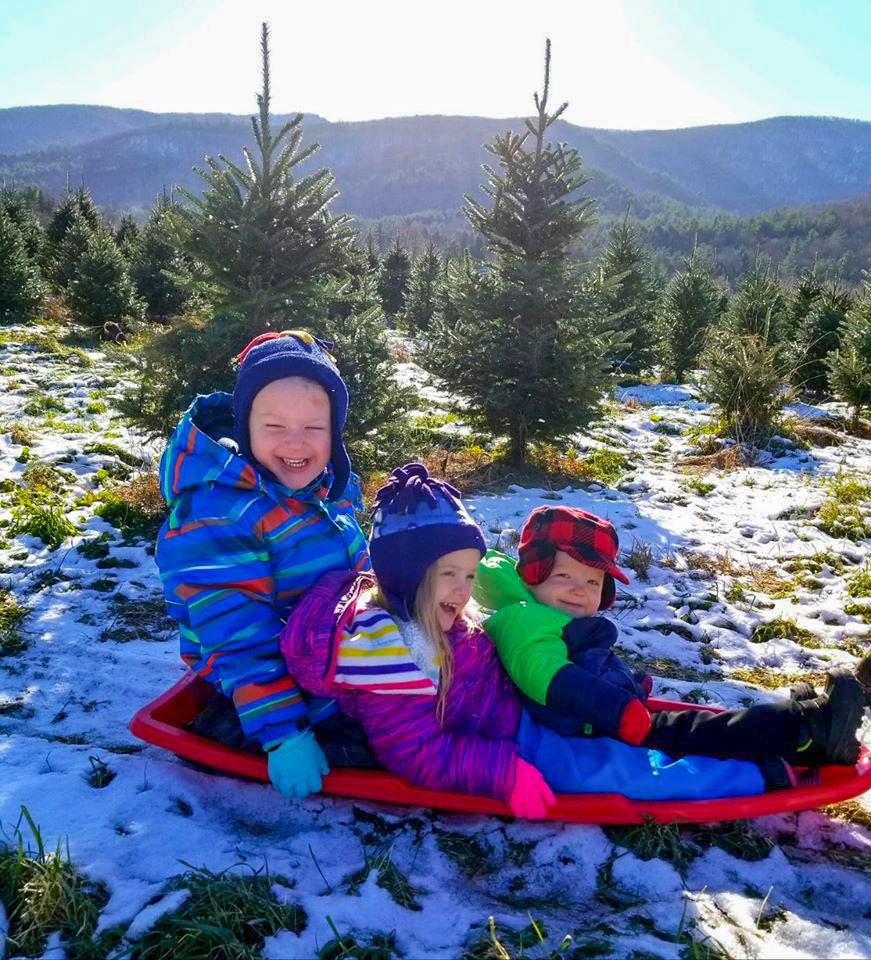 Three kids in a sled at Mt. Anthony Tree Farm in North Pownal, VT.
