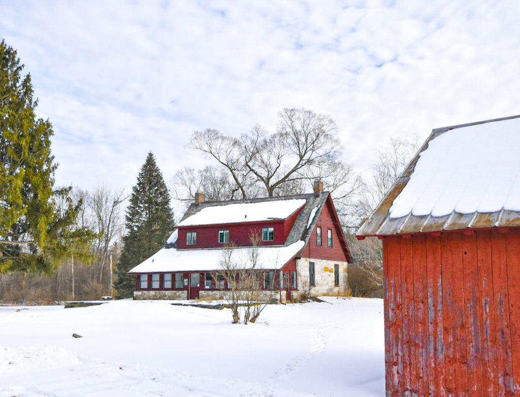 The Robert Frost Stone House Museum in winter