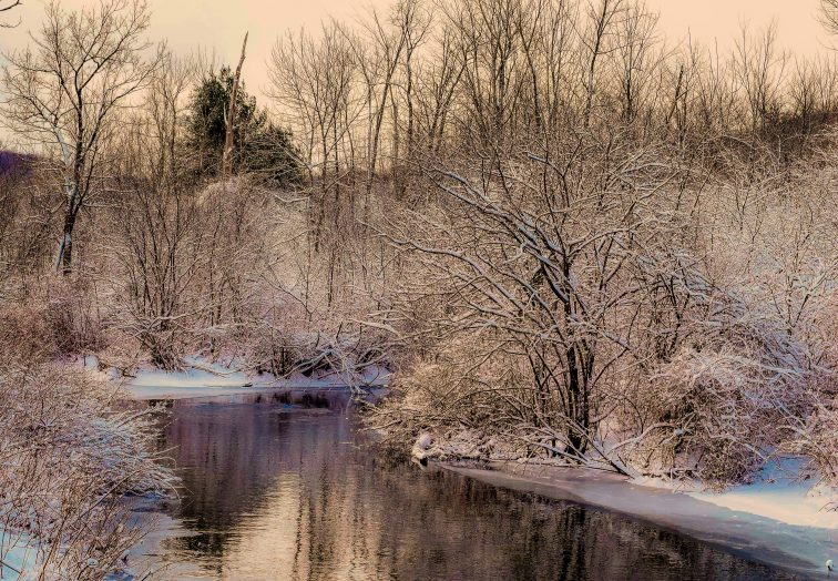 A winter scene featuring Greenberg Headwater Park in Bennington VT