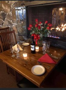 A romantic dining table set for two at the Publyk House in Bennington, VT