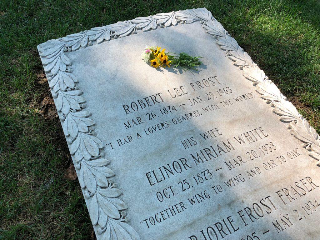 Robert Frost gravesite behind the Old First Church in Bennington, VT.