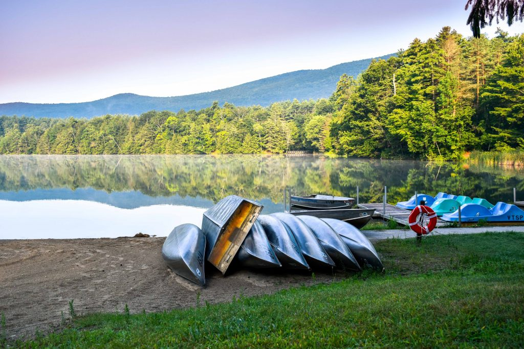 The view from the beach at Lake Shaftsbury State Park in Vermont