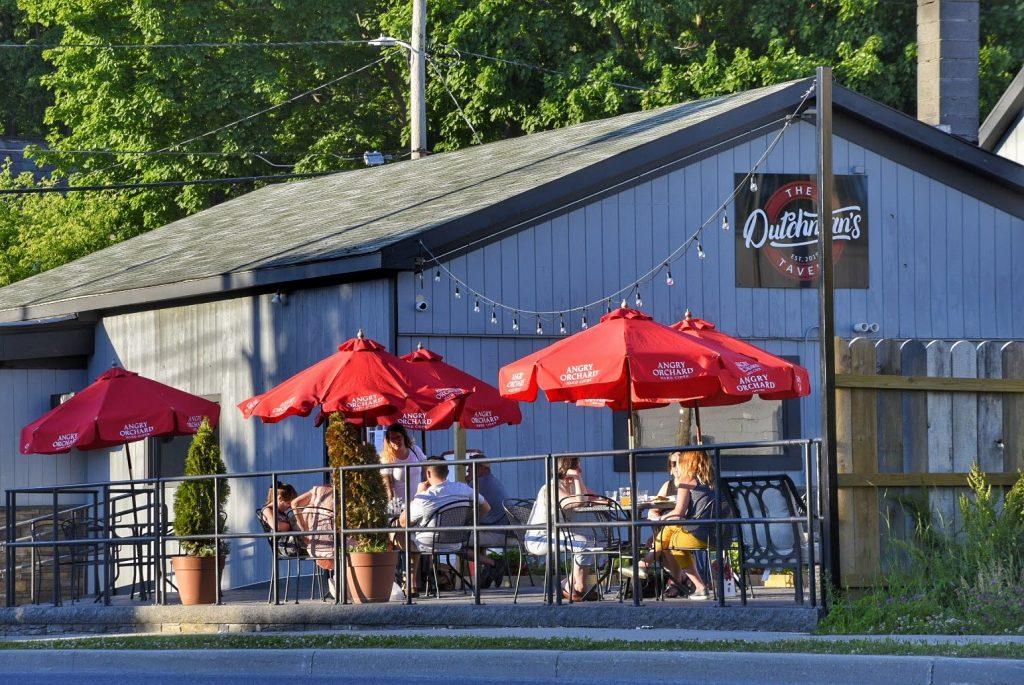 The outdoor patio at the Dutchman's Tavern in Bennington, Vermont