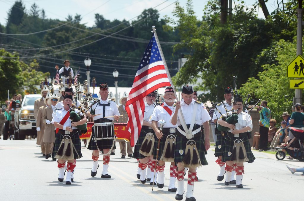 The Springfield Kiltie Band marches in a past Battle Day parade. Photo credit: Caroline Bonnivier Snyder via The Bennington Banner.