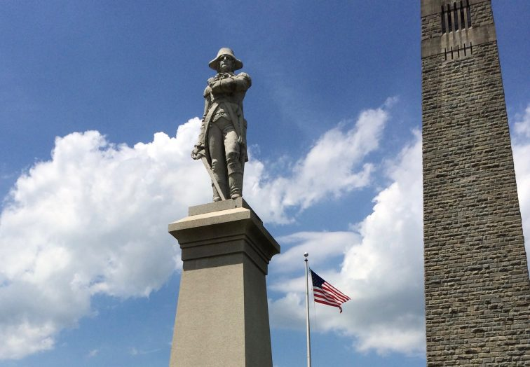 A statue of Seth Warner at the Bennington Battle Monument