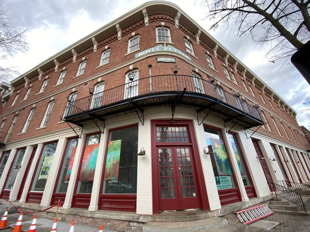 An exterior shot of the newly renovated Putnam Block in Bennington, Vermont
