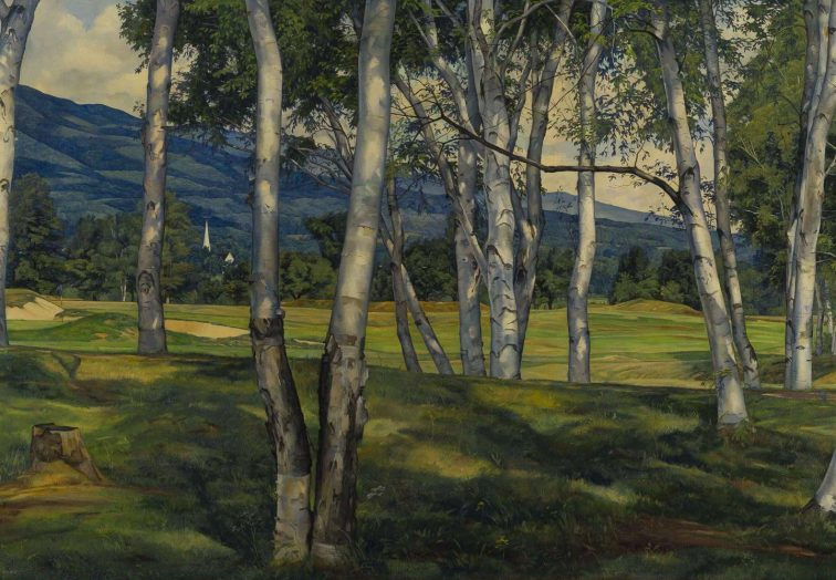 """""""The Birches,"""" 1940, Luigi Lucioni, collection of Lyman Orton and the Vermont Country Store"""