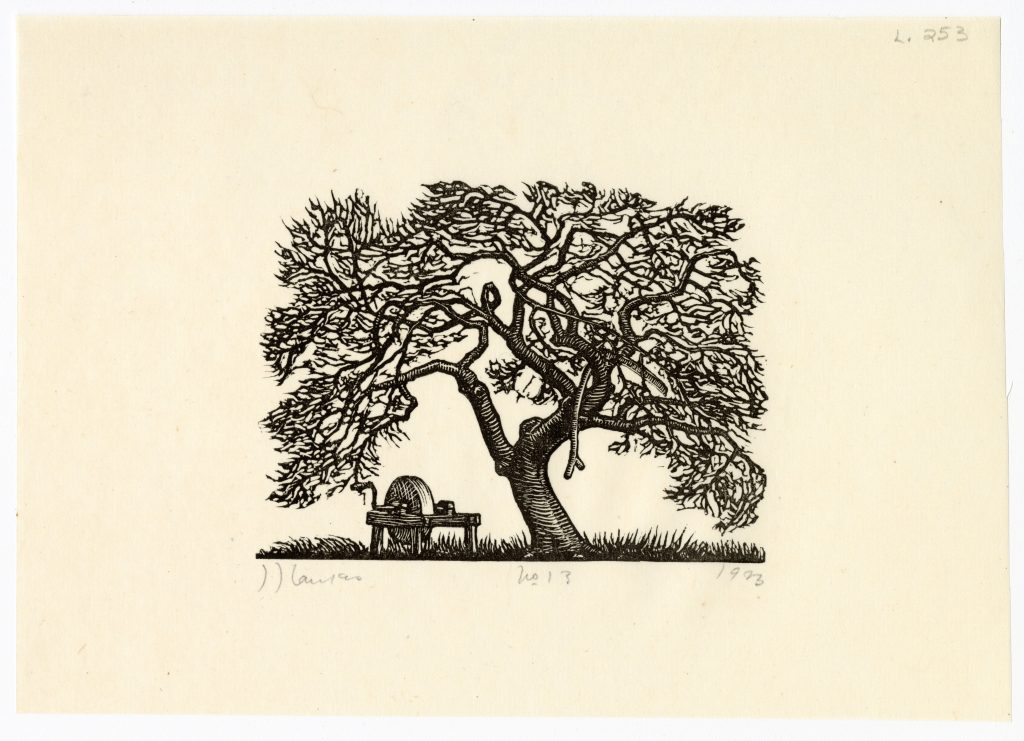 """""""Apple Tree and Grindstone,"""" 1923, J.J. Lankes (Dartmouth College Special Collections)"""