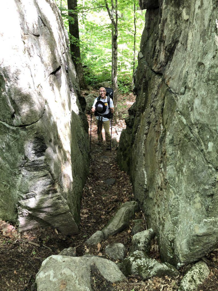 The view through Split Rock on the Appalachian Trail in Bennington, VT.