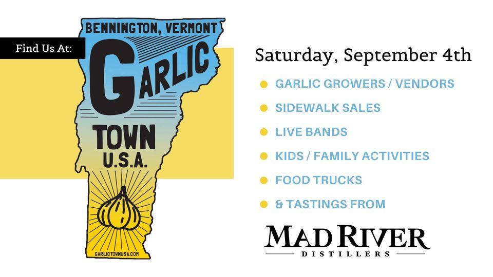 A poster announcing Garlic Town USA 2021 in Bennington, Vermont.