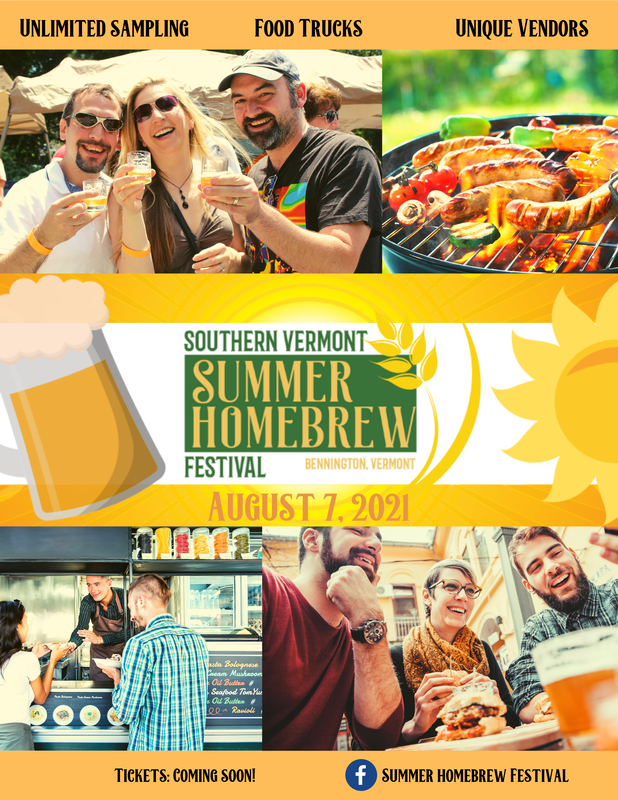 A poster announcing the Summer Homebrew Festival in Bennington, Vermont.